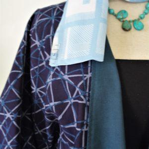 Silang batik cardigan – blue and grey