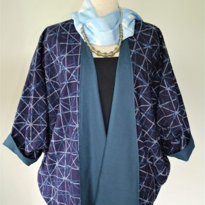 Silang batik cardigan – blue and grey